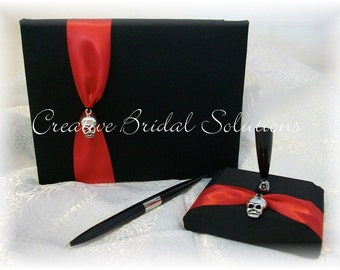 Gothic Skull Wedding Black with Red Guest Book and Guest Pen- The Romona, Goth Wedding
