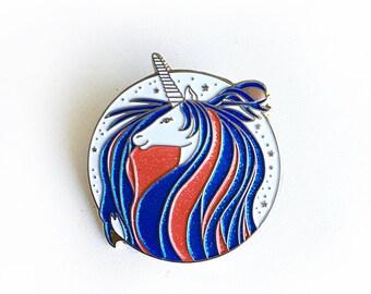 Unicorn enamel pin, Glitter Unicorn lapel pin, Unicorn accessories, Glitter enamel pin- 1.25 inch pin