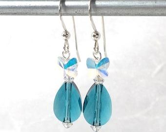 Butterfly Earrings - Aqua Crystals - Blue Butterflies - Teal Green Earrings - Butterfly Jewelry - Indicolite