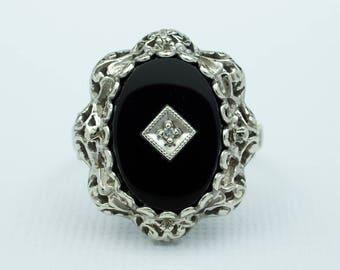 Vintage Filigree Onyx Ring 10k White Gold