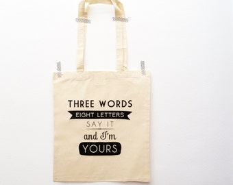 Gossip Girl quote tote bag - white cotton or beige canvas shoppingbag
