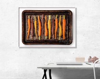 Baby Rainbow Carrots on a Baking Tray, Photo Wall Art Print
