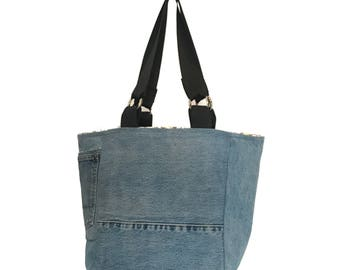 Up-cycled Denim Tote Bag with Seat Belt Straps
