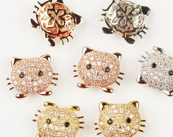 Cat head beads, Animal Beads,  Micro Pave Beads / CZ Bead / Clear Cubic Zirconia beads , Bracelet Charms, 14mm ,1pc