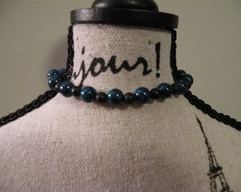 Matte Onyx and Fossil Bead Bracelet