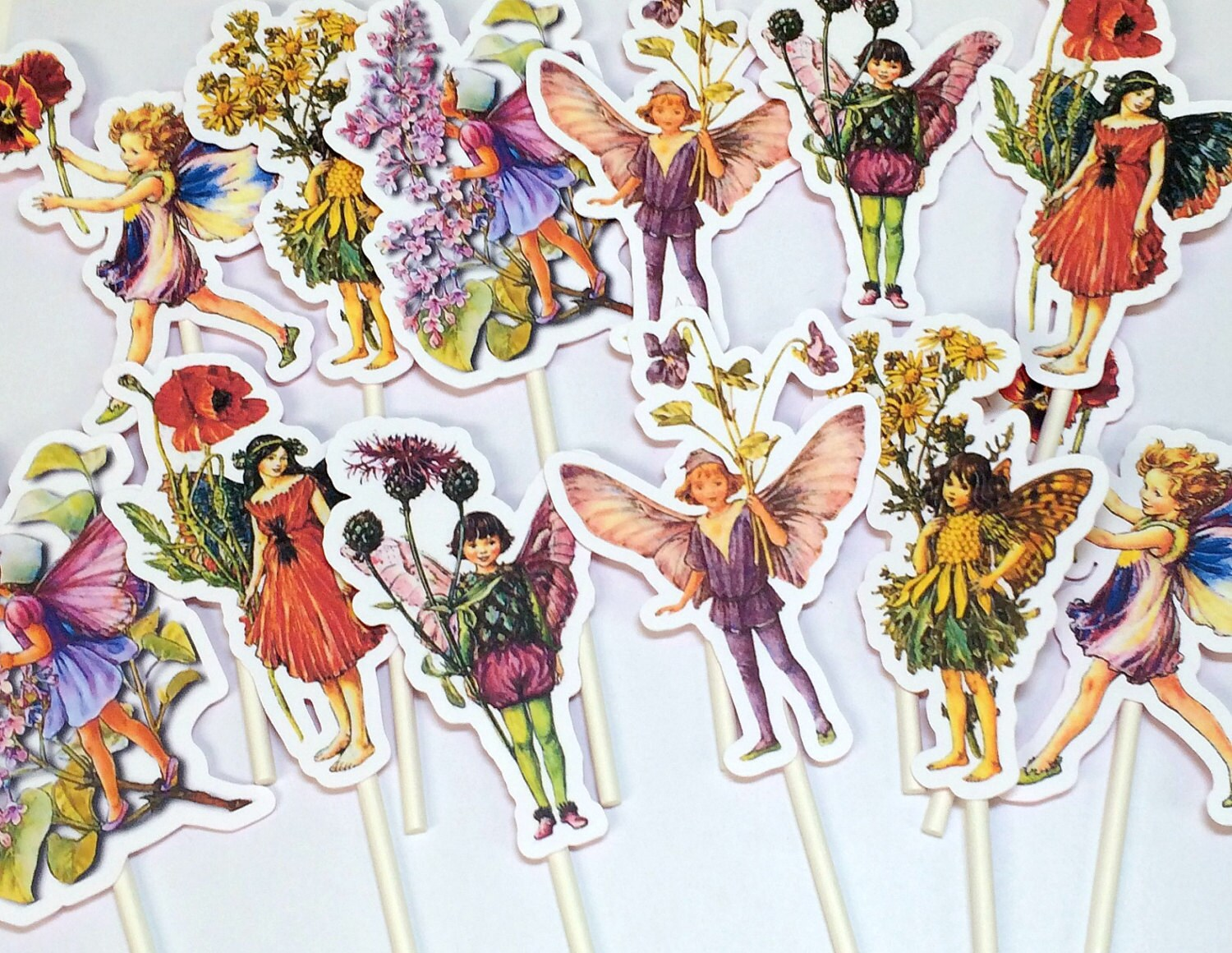 Cupcake Toppers Flower Fairy Food Picks Birthday Party