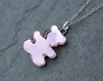 Pink Crystal Teddy Bear Necklace - perfect for moms with baby girls - pale rose pink - Free Shipping USA