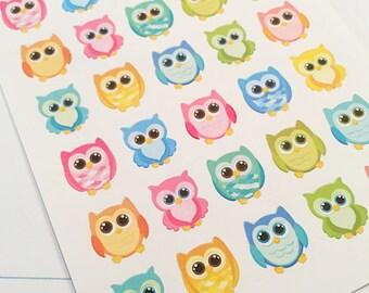 35 Bright Owl Planner Stickers- Kawaii Owl Stickers- perfect in your Erin Condren planner, Plum Planner, calendar or scrapbook