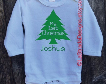 Baby's First Christmas Personalized Outfit/Baby's 1st Christmas/Shortsleeve or Longsleeve available in white only