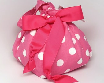 Hot Pink with White Polka Dots - Choice of Size - Plum Creek Project Bag (P-002)