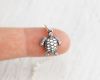 Sea turtle necklace etsy turtle necklace sea turtle necklace sterling silver sea turtle charm beach jewelry mozeypictures Images
