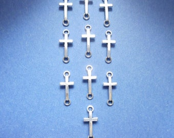 10 Antique Silver Sideways Cross Connector Charms - 2-C-5