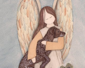 German Shorthaired Pointer with Angel / Lynch signed folk art print