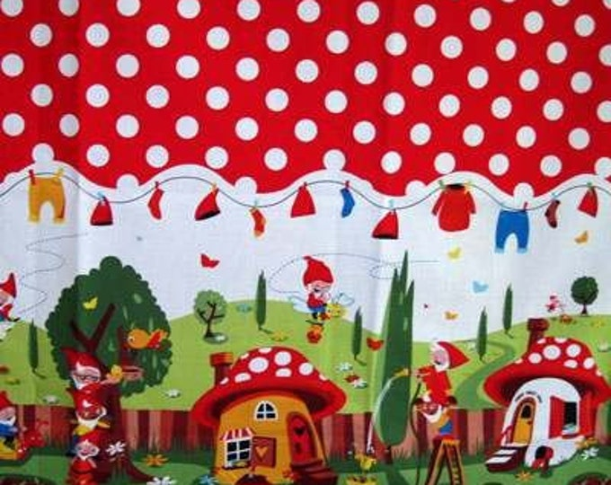 Michael Miller GNOMEVILLE Border Red Polka Dot Quilt Gnome Fabric - Remnants End of Bolt Assorted Sizes