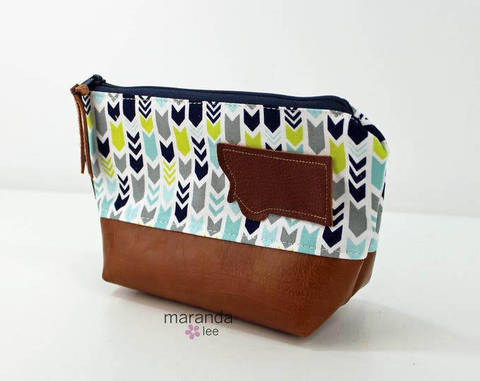 AVA Small Clutch - Short Arrows with Montana Patch and PU Leather  READY to SHIp