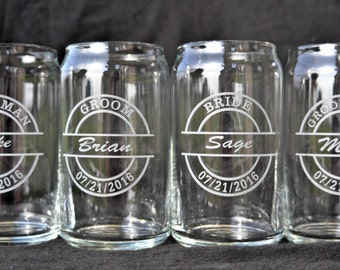 Beer Can Shaped Glass for Groomsman, Best Man, Bachelor Party, home brew, beer lover, craft, keg party beer, sports fan Etched by JackGlass