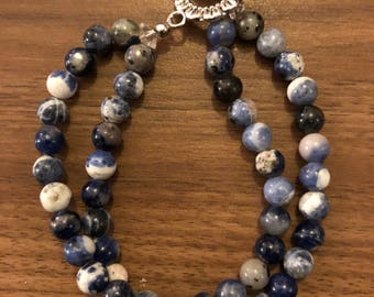 Emily Sodalite Stone Beaded Bracelet with Swarovski Crystal Beads