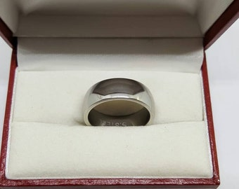 Stainless steel wedding ring silver band mans wedding ring or pinky ring,dress ring ,gift for him. size 10.5 USA , U UK size