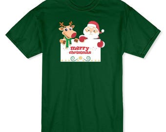 Joyeux Noël signe Santa et Rudolph hommes forêt T-shirt vert
