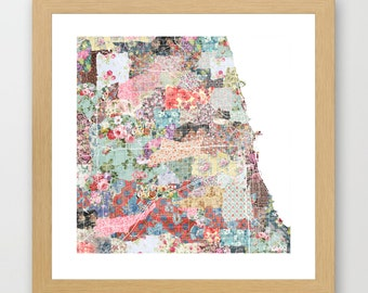 Chicago map | Chicago Painting | Chicago Art Print | Chicago Poster | Illinois map  | Flowers compositions