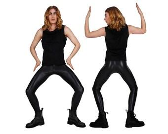 Mens Leggings; Snake Print, Meggings, Black Leggings Long, Men Festival Clothes, Post Apocalyptic, Wasteland Costume, Cyberpunk, LENA QUIST