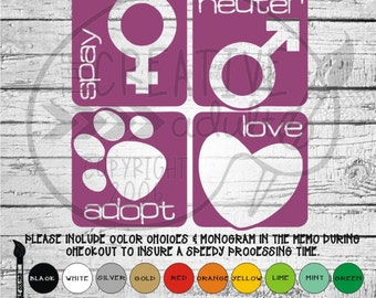 Spay Neuter Adopt Love -  Vinyl Decal Sticker - Available in variety of sizes and colors