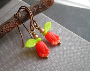 Red Tulip Dangle Earrings - Czech Glass Bead Floral Dangles - Boho Flowers Beaded Tulips Bohemian Flower Dangle Earrings Garden Jewelry Gift