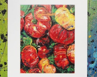 Tomatoes wall art, Modern wall art, Kitchen art, vegetable painting, Abstract Garden art,  Print Garden Art white mat
