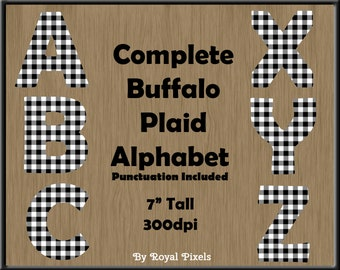 White Buffalo Plaid Alphabet - UPPERCASE Clip Art  - 26 Letters - 3 Punctuation Symbols - PNG Files #11