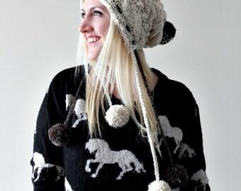 Pom Pom Beanie / Pixie Hat / Pom Pom Beanie / Pom Pom Hat / Cable Knit Beanie / Slouchy Beanie / Slouchy Hat / Womens / Ivory Knit Beanie /