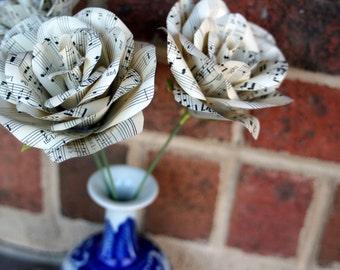 Vintage Sheet Music Roses- Paper roses