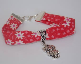 Bracelet Liberty OWL patterns red white flowers