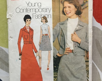 Simplicity sewing pattern. Size 14. 1972. Dress and jacket.