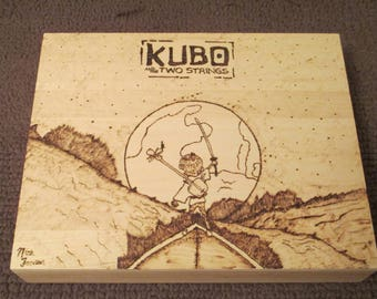 Kubo and the Two Strings wood burned fan art