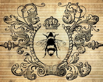 INSTANT DOWNLOAD - Victorian Queen Bee in Wreath - Print Transfer to Furniture in Shabby Chic Style #2