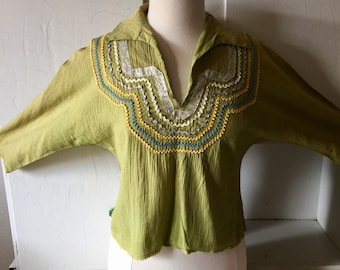 Santa Fe Fiesta Blouse M Green Handmade from Santa Fe New Mexico 1950s 60s cowgirl style