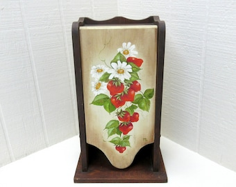 Vintage Wooden Recipe Box Handcrafted Tole Painted Counter Top Or Wall Mount