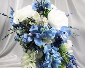 Blue Serenity Large Cascading Beaded Bridal Bouquet with Crystal and Pearl Brooch Beaded Fringe - ready to ship