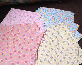 Origami folding papers - 60 pcs of 4 flower japanese styles with making paper shirt instruction