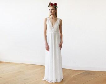 Sleeveless Ivory Lace Wedding Gown, Lace boho bridal dress, Boho wedding dress 1150
