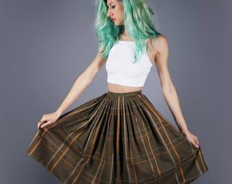 50s Skirt Plaid Skirt Olive Green Skirt Alex Coleman Skirt New Old Stock Skirt 1950s Skirt Cotton Skirt XS