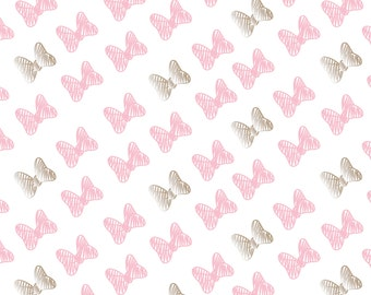 Minnie Mouse Bows Fabric By Camelot 85270204 3 Pink With Champagne Metallic On White Background