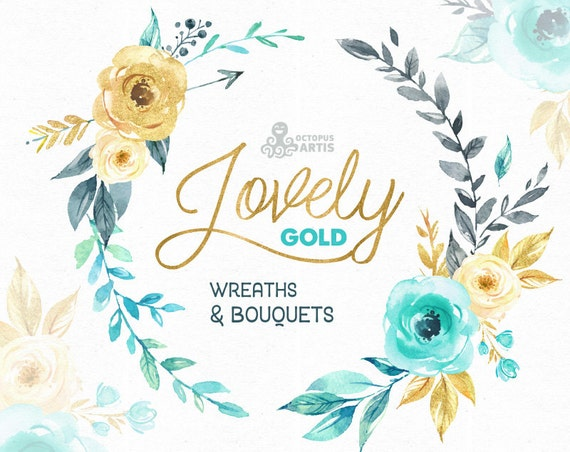 Lovely Flowers Gold. Wreaths and Bouquets. Watercolor Clipart