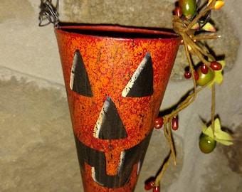 Paper Mache Pumpkin Cone Hanger