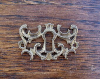 Antique Brass Escutcheon Keyhole Cover Vintage Key Hole