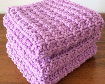 Hand Knit Cotton Dish Cloths - Set of 3  - 100% Cotton - Spa Washcloth - Eco-Friendly Active