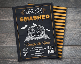 "PERSONALIZED 5x7 ""Let's Get Smashed"" Foil Effect Halloween Party Invitation - DIY Printable"