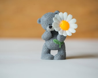 Soap Teddy Bear With A Daisy Flower Handmade Soap  Mothers Day  Gift For Her  Vegan Soap  Animal Lover