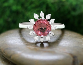 Pink Tourmaline and Diamond Halo Engagement <Prong> Solid 14K White Gold (14KW) Colored Stone Wedding Ring *Fine Jewelry* (Free Shipping)