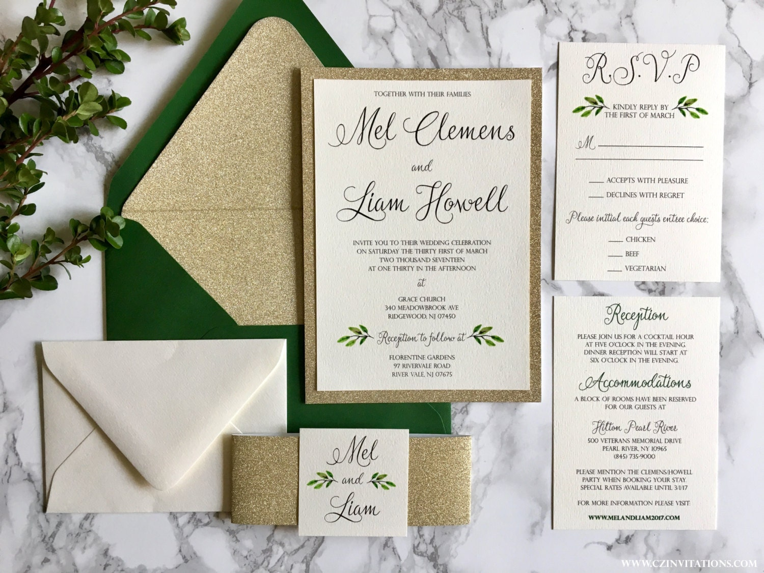 gold glitter wedding invitation with greenery green and gold
